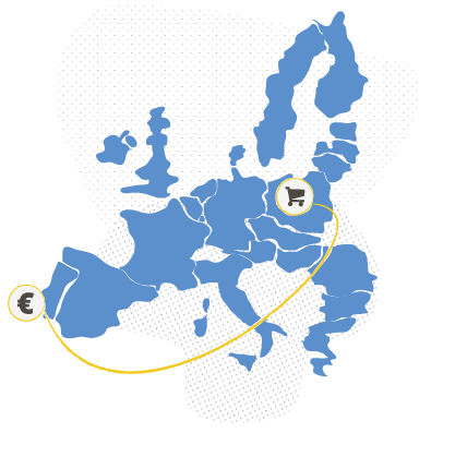 Map of Europe representing international trade.